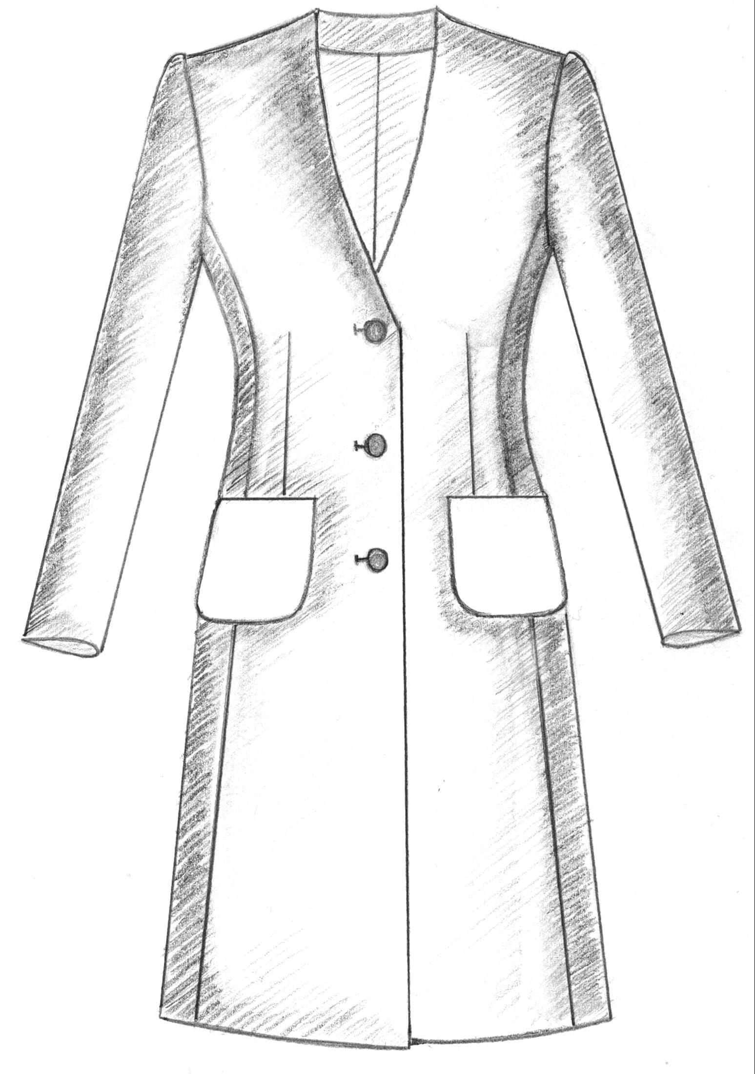 Mantel mit Cardigan Ausschnitt