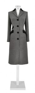 grauer einreihiger Mantel