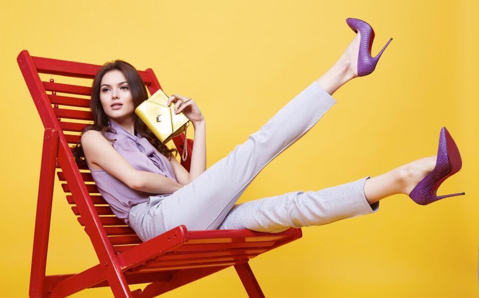 violette Damenhose