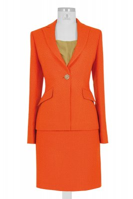 orangenes knielanges Kostüm