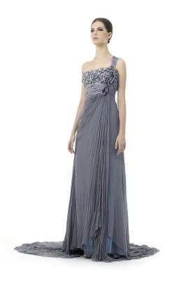 graues langes Abendkleid