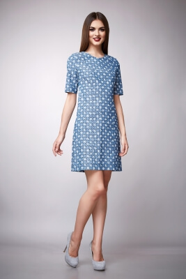 Blaues Freizeitkleid mit Punkten