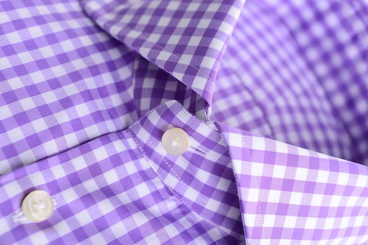 Maßbluse violett kariert
