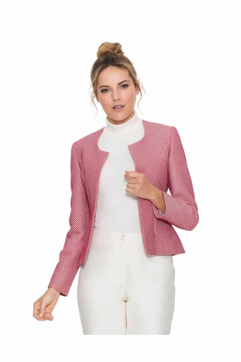 Kurzgeschnittener Blazer für Frauen ohne Kragen